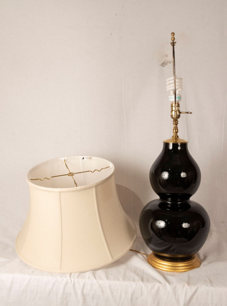 A Mirror Black Glazed Double Gourd Porcelain Vase Lamp