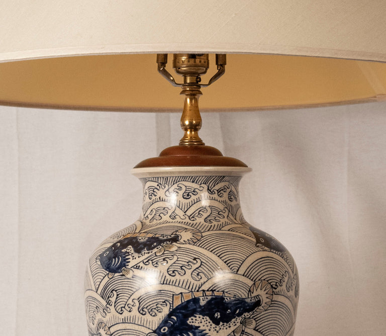 A lamped Japanese baluster vase
