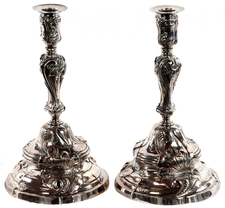 Pair of Buccelatti Sterling Silver Candlesticks