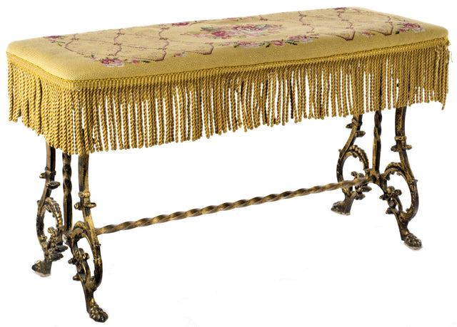 A Beaux-Arts English Wrought Iron and Needlepoint Bench