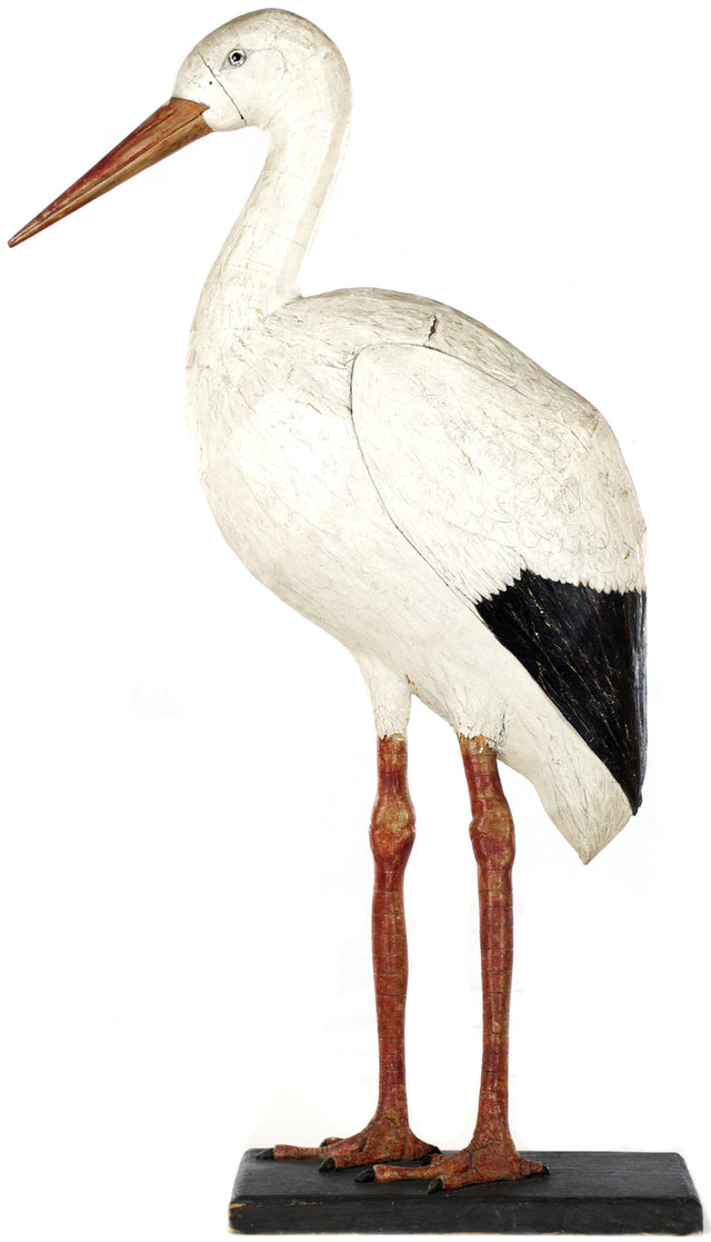 Large German Folk Carved Wood Stork