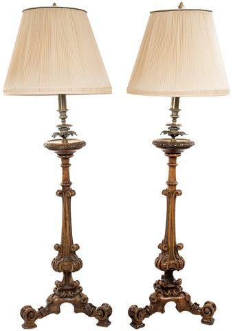 Pair of Carved Wood and Brass Table Lamps