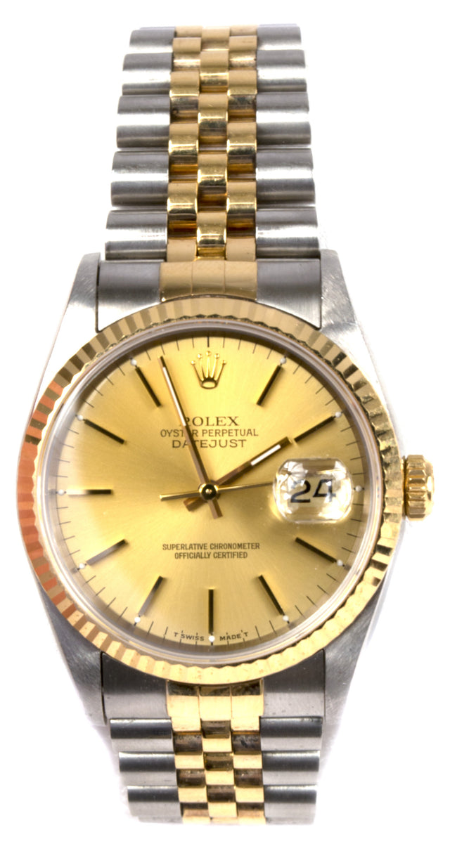 Rolex Stainless Steel and Yellow Gold Datejust Wristwatch