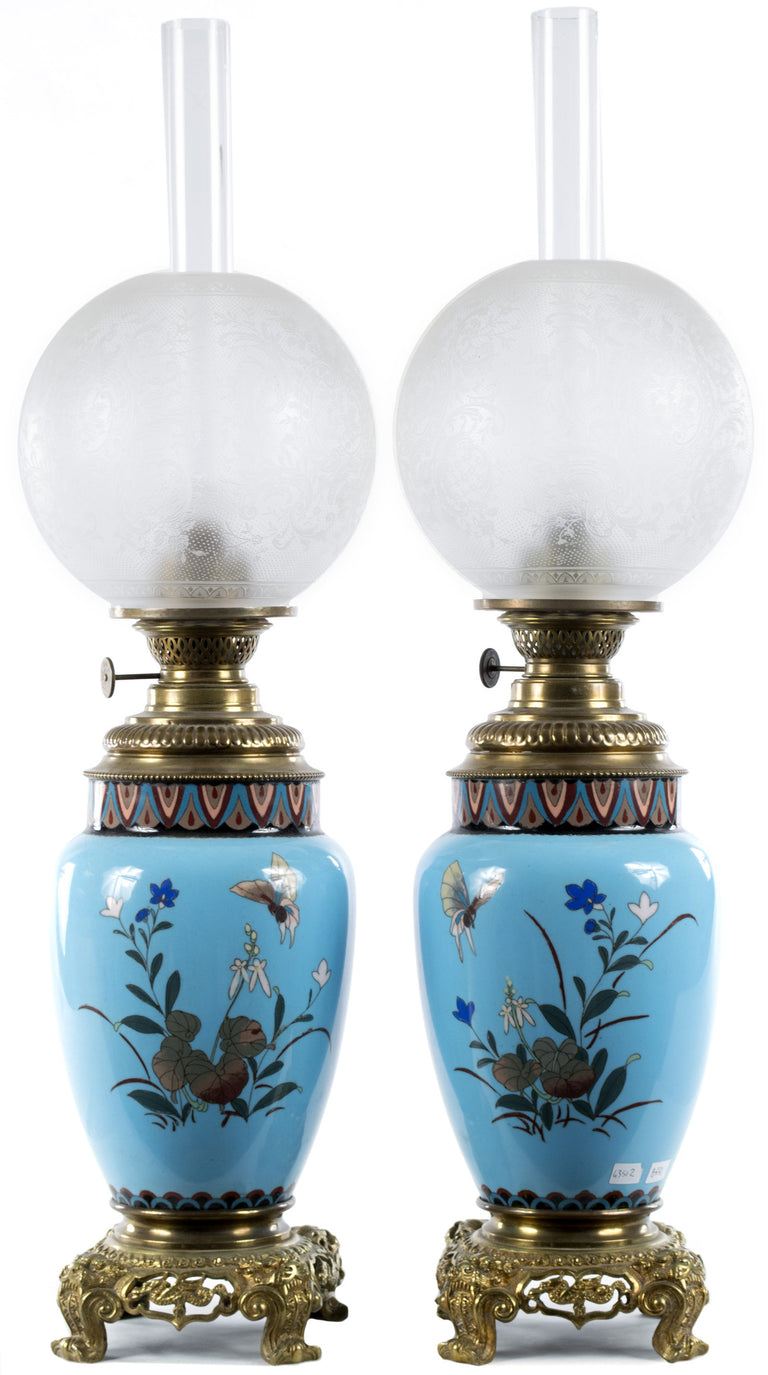 Pair of Meiji Cloisonné Lamps with French Ormolu Fittings
