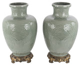 Pair of 19th Century Celadon Baluster Vases