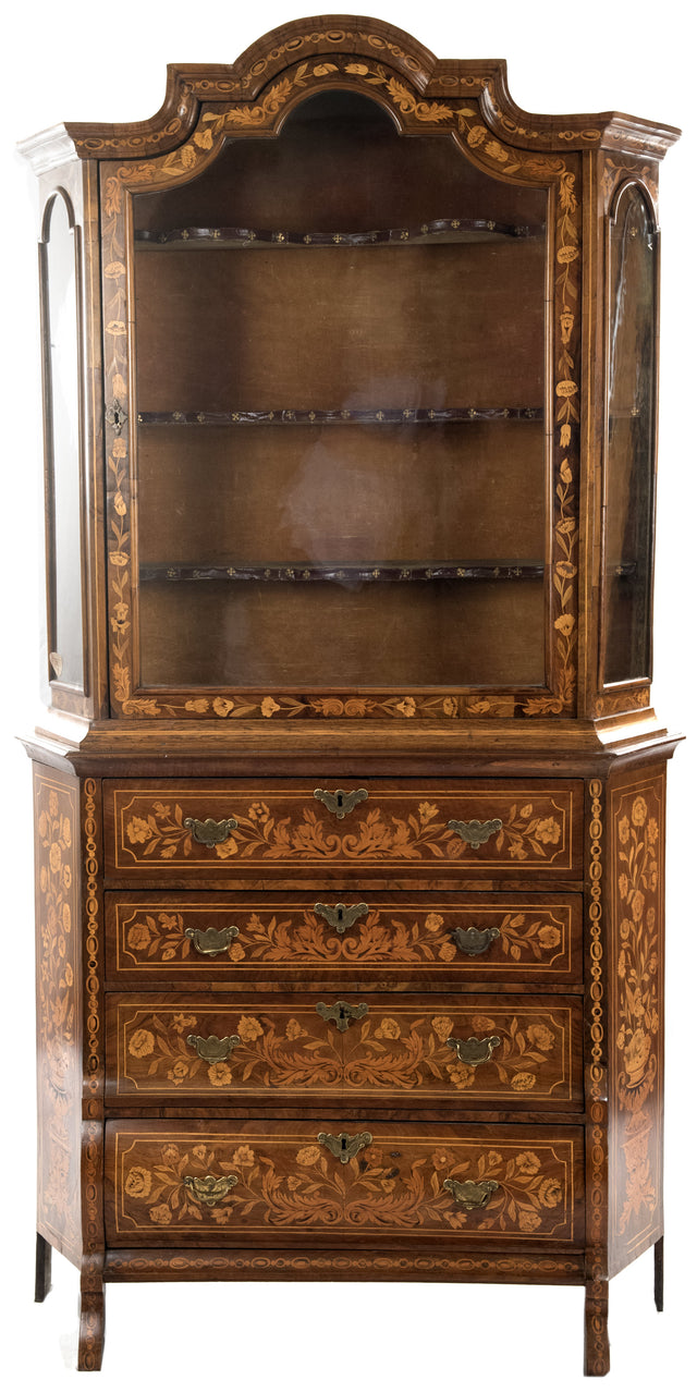 Dutch Marquetry Bombe Display Cabinet