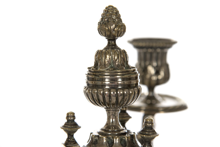 Pair of French Neoclassical Silver-plated Bronze Candelabra