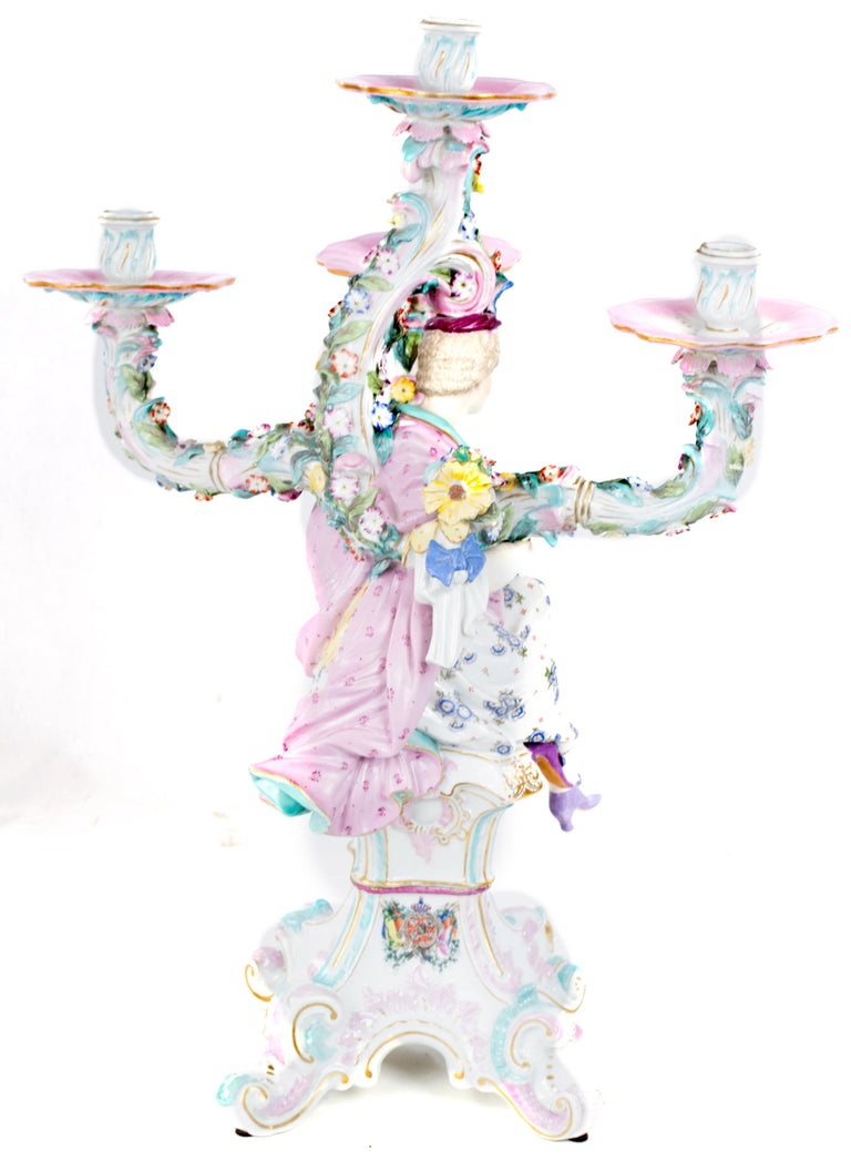 A exceptional and large Dresden porcelain candelabra