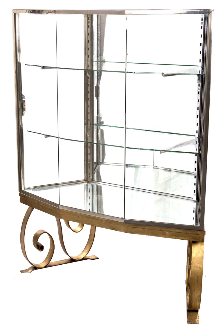 Glass and Mirrored Art DecoPanel Display Case on Gilt-painted Base