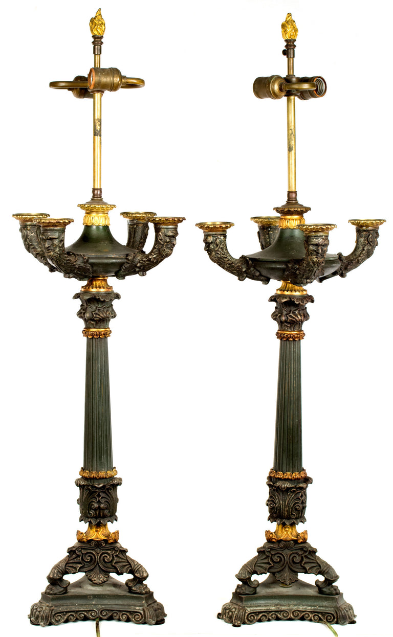 Pair of Bronze and Ormolu Renaissance Revival Table Lamps