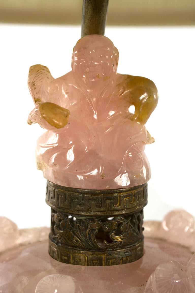 Chinese Carved Rose Quartz Table Lamp