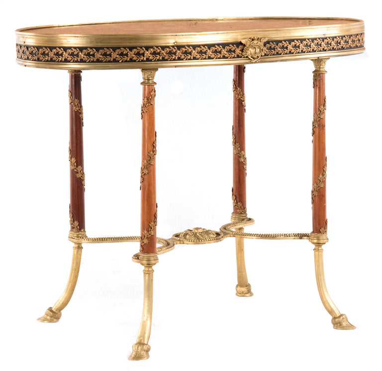 French Oval Marble Top Table with Hoof Feet