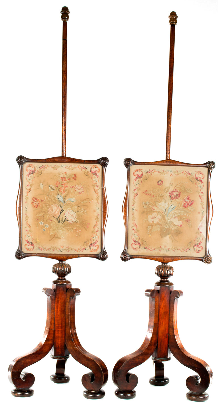 A Pair of English Embroidered Mahogany Fire Screens