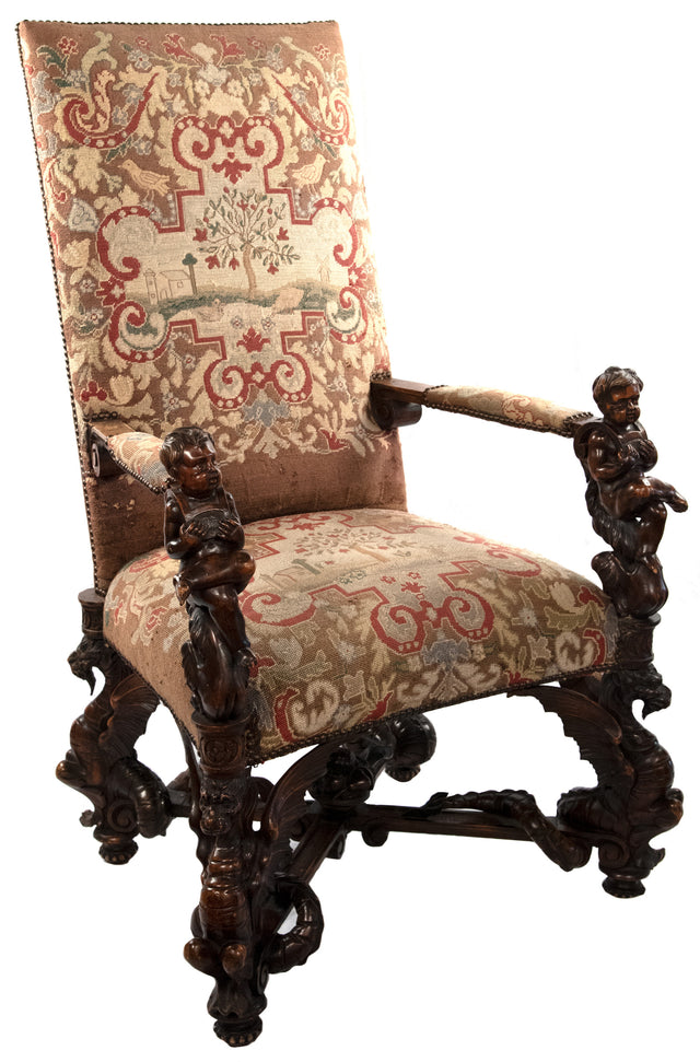 A Carved Venetian Gros Point Tapestry Arm Chair (c. 1885)