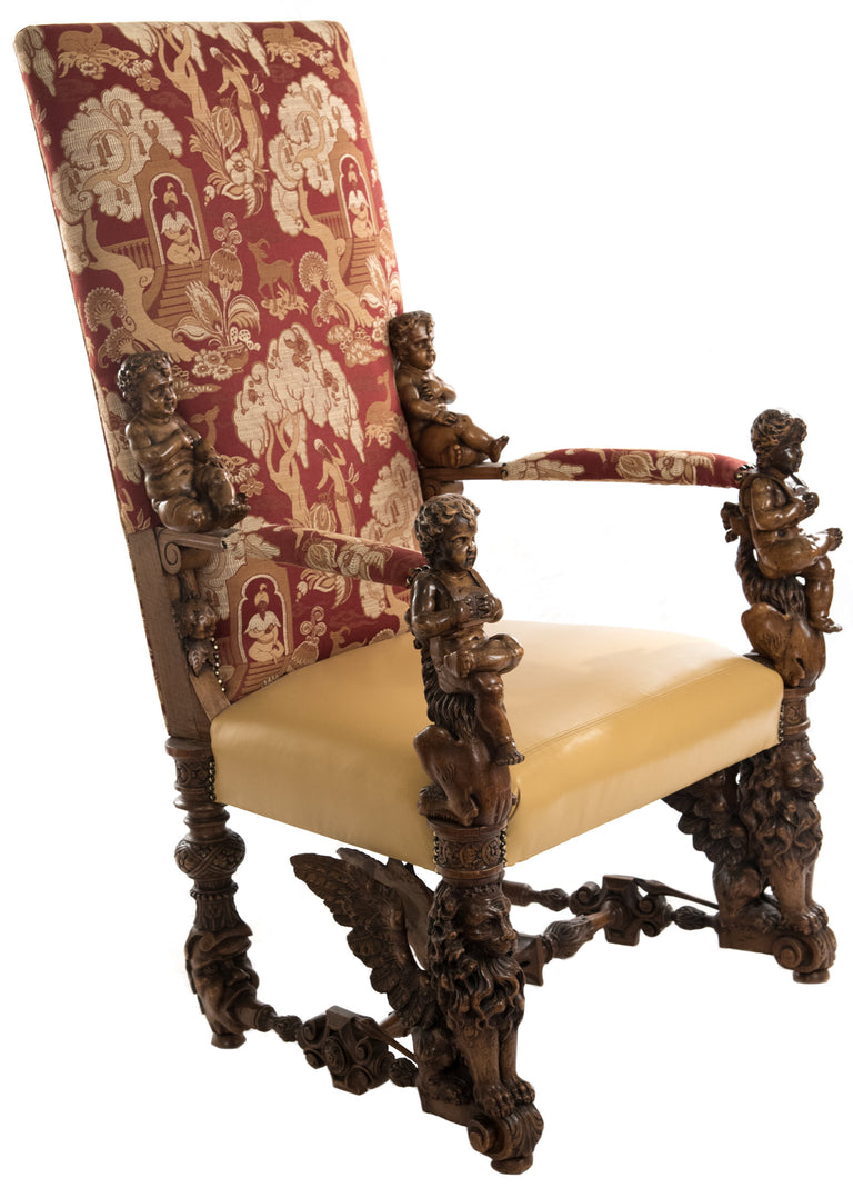 Italian Baroque-style Carved Walnut Throne Armchair