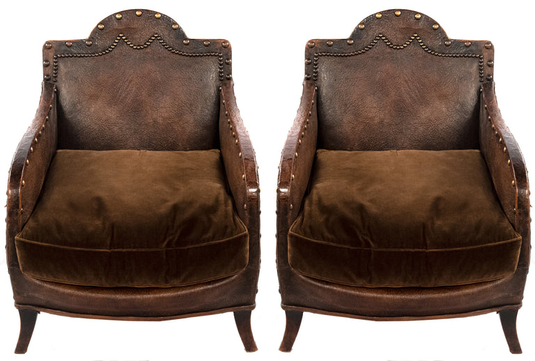 Pair of French club chairs (c. 1910)