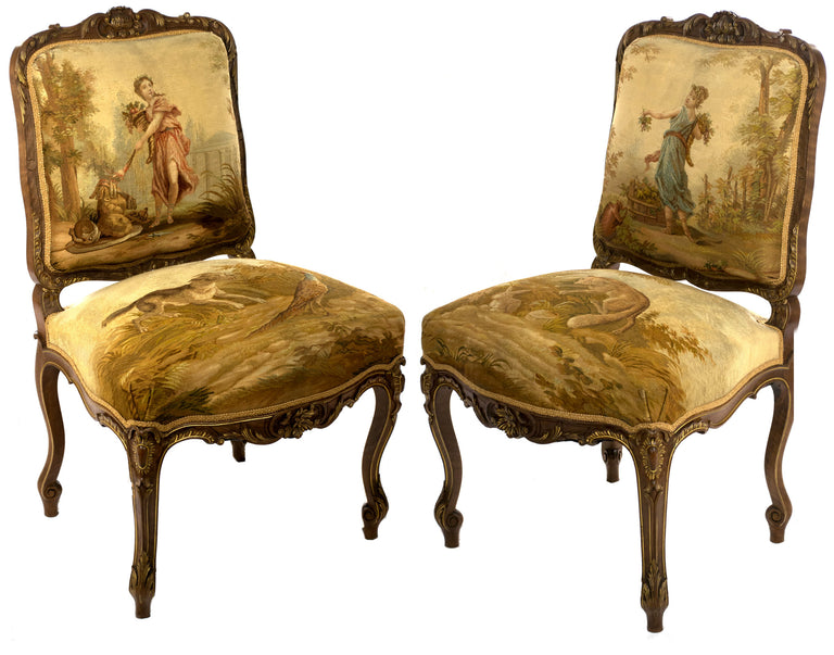 A Pair of Gilt Aubusson Tapestry Mahogany Chairs