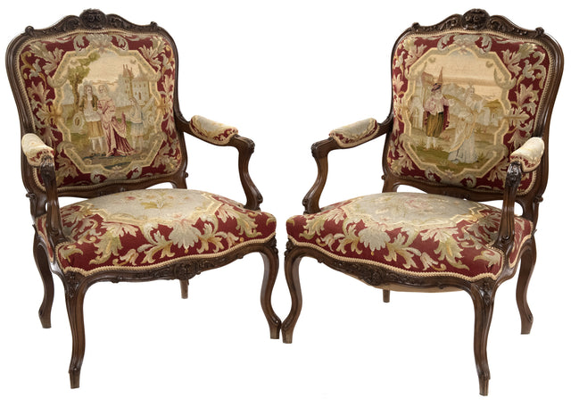 Pair of Louis XV Style Carved Walnut Tapestry Armchairs