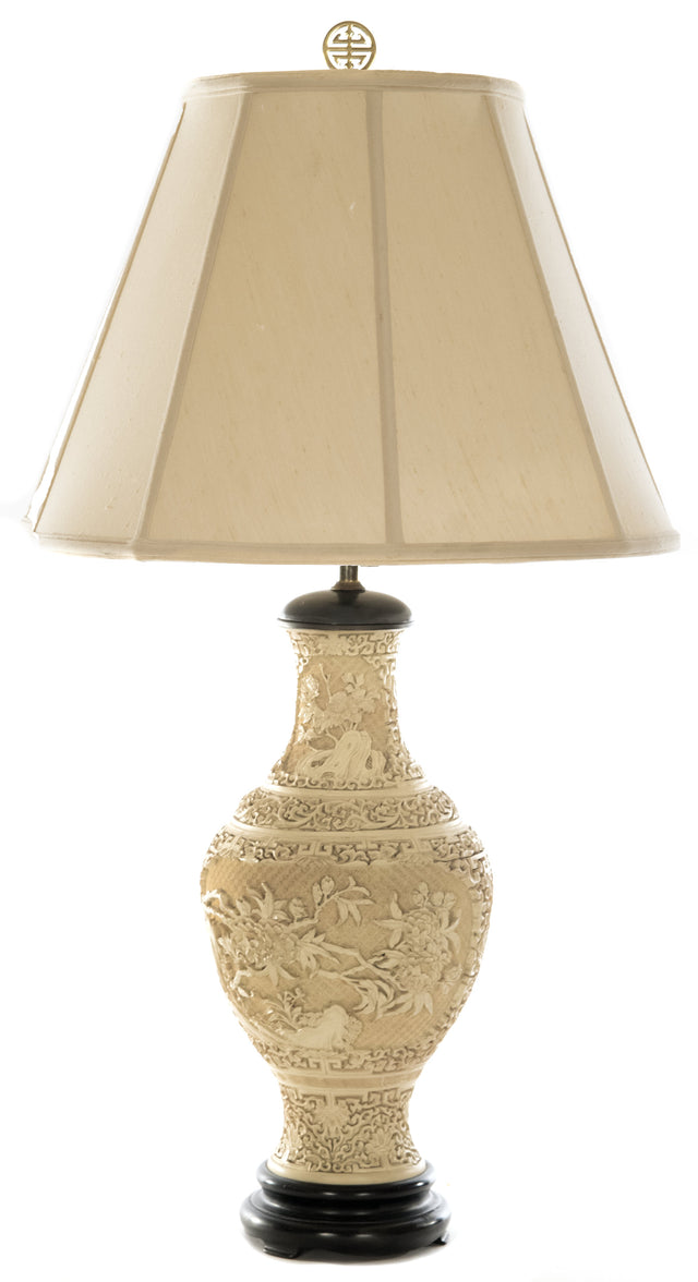Chinese Carved White Cinnabar Table Lamp