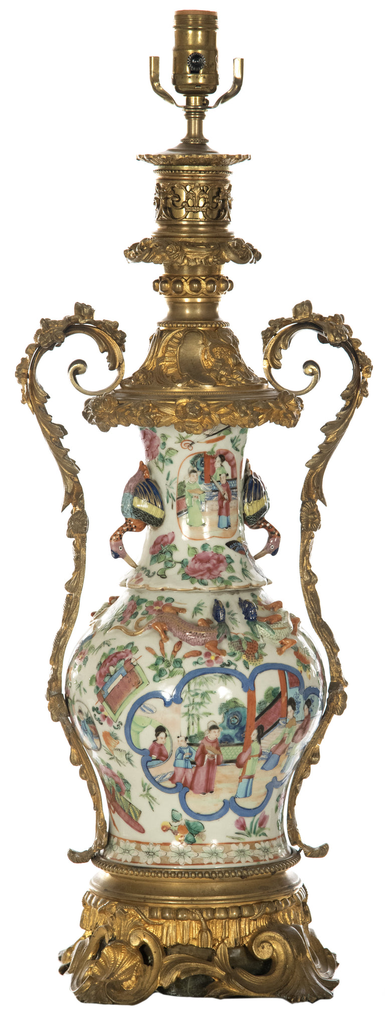 Rococo-style Brass Mounted Famille Rose Vase Table Lamp
