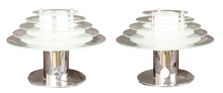 Pair of Vintage Sonneman for Kovacs Chrome and Glass Table Lamps