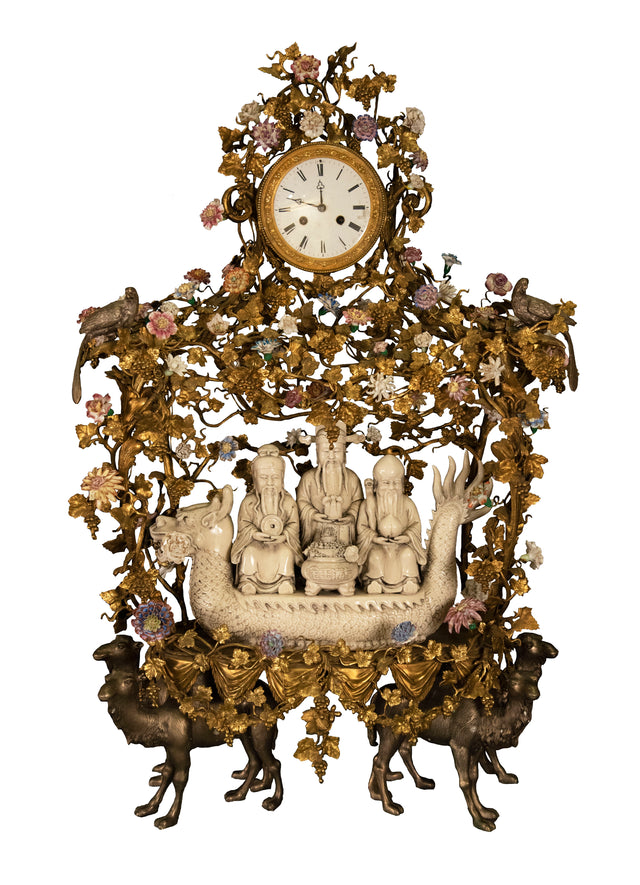 Monumental Japy Frères ormolu Chinoiserie clock (c. 1870 and porcelain, c. 1800)
