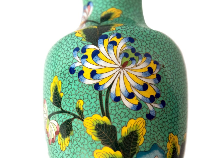 Pair of Green Meiji Cloisonné Vases with Chrysanthemums
