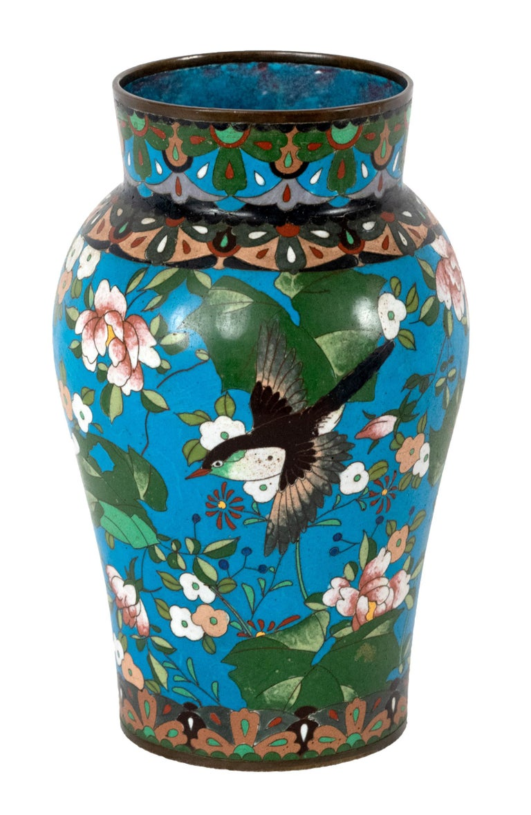 Cloisonné Meiji Vase with Cherry Blossoms