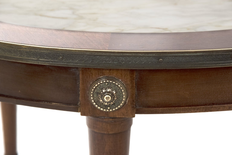 Neoclassical Walnut and Marble Inset Coffee Table