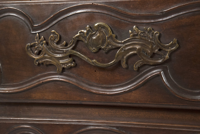 18th Century French Provincial Louis XV Carved Walnut Bombe Commode