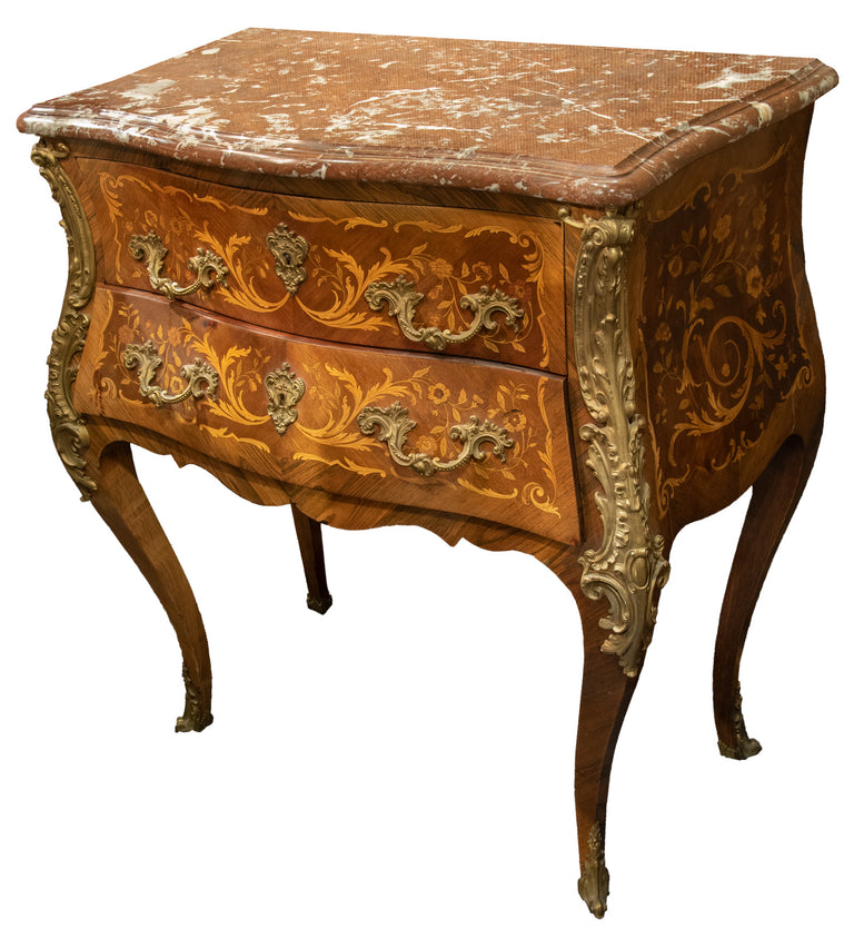 French Louis XV Style Commode with Marquetry Inlay, Ormolu Mounts and Marble Top
