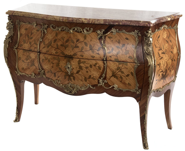 French Louis XV-style Ormolu-mounted Inlaid Bombe Commode