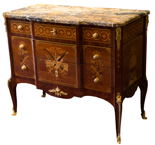 A Signed Louis-XVI Style French Marquetry with Ormolu Commode