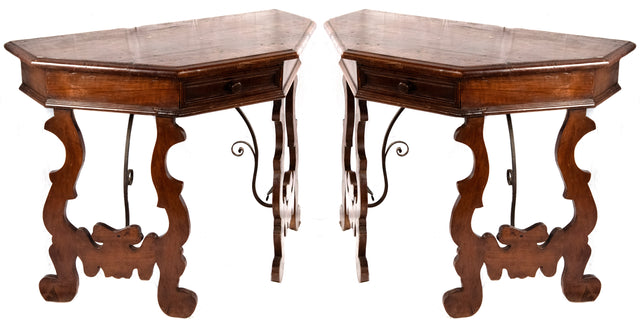 Pair of Spanish Oak Console Tables