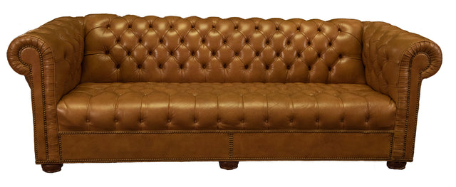 Pair of Tufted Leather Chesterfield Sofas