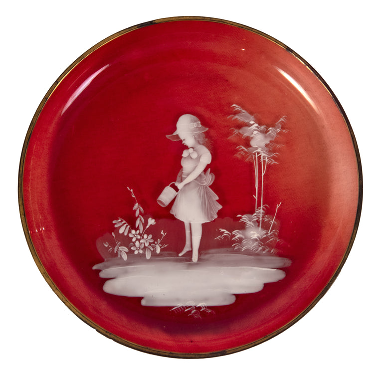 Mary Gregory Small Art Glass Plate