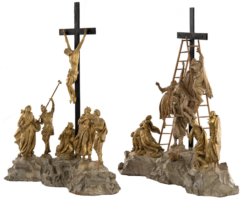 Set of Wood and Gold Leaf Crucifixion Sculptures