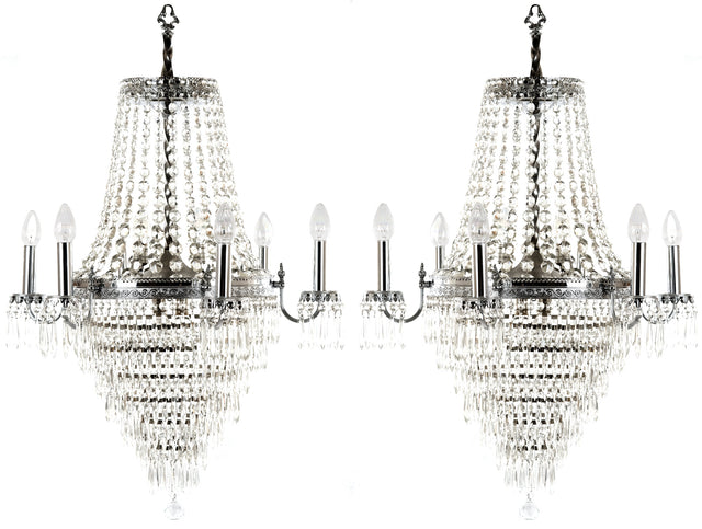 A Pair of Six-Light Crystal Chandeliers