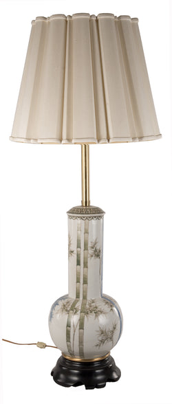 19th Century Chinese White and Green Glaze Bottle Vase Table Lamp