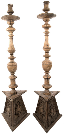 18th Century Pair of Monumental Italian Carved Candelabras