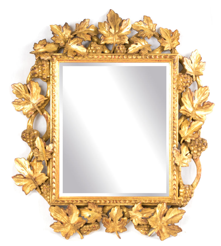 An Italian Gilt and Bevelled Grapevine Mirror