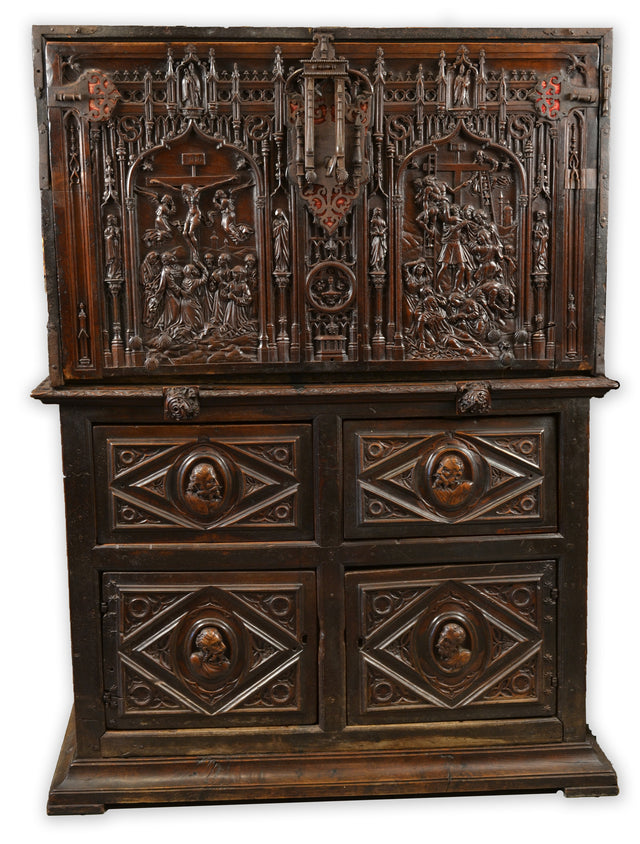 Sixteenth-Century Spanish Vargueño Cabinet Featuring Scenes from the Life of Christ
