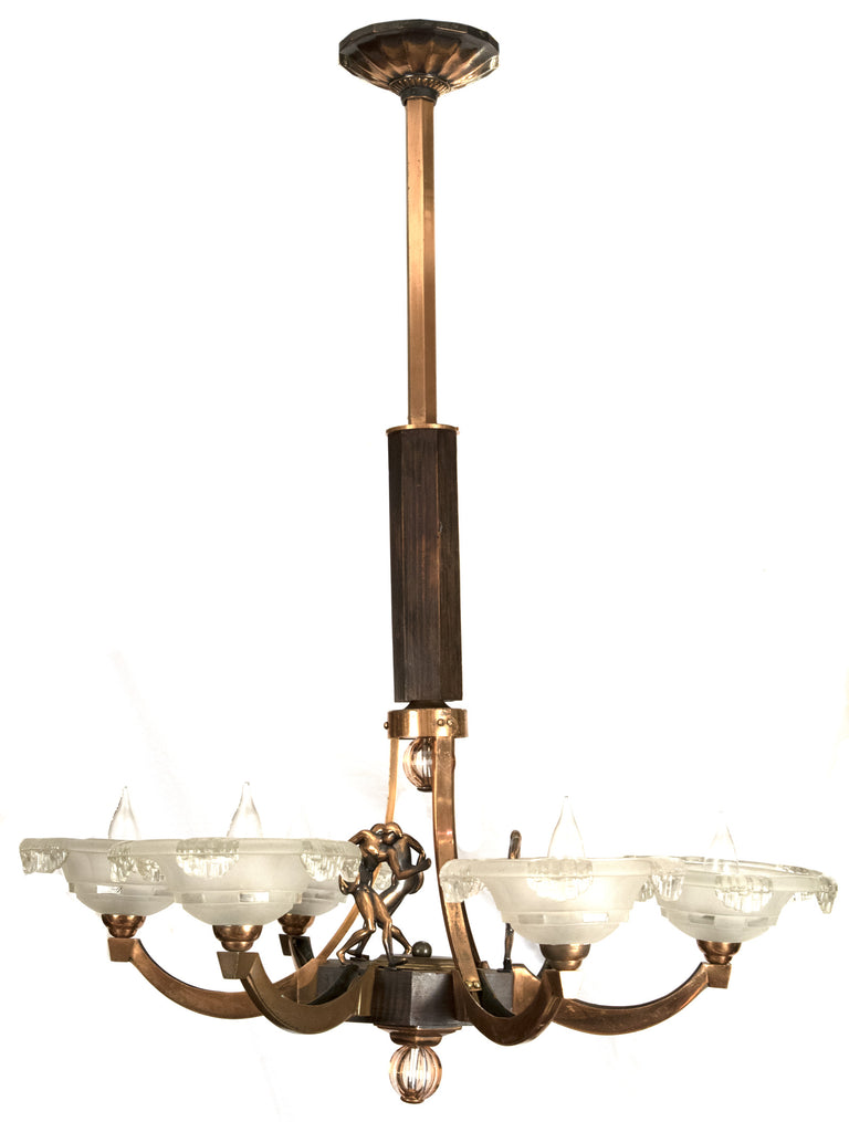 Brass and Wood Art Deco Six Arm Chandelier with Figural Forms