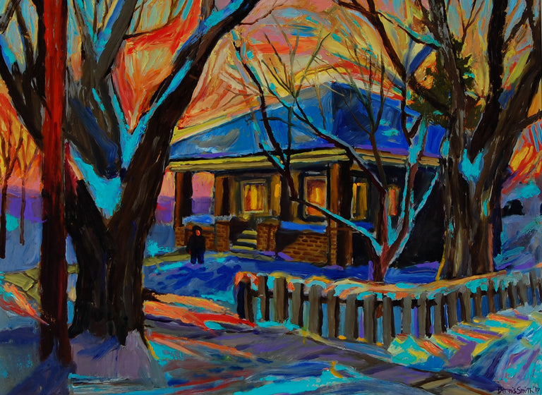 Winter Bungalow at Dusk by Dennis Smith