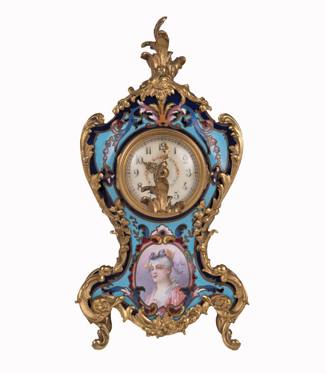 A Louis XV Style Cloisonné Gilt Bronze Mounted Mantel Clock