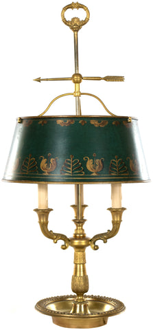 English Brass Table Lamp with Painted Shade