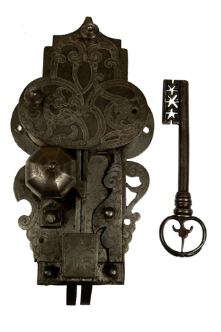 Large Sixteenth-century Etched Lock and Key