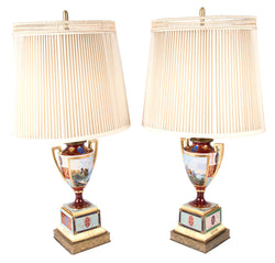 Pair of Neoclassical Royal Vienna Porcelain Urn-shaped Table Lamps
