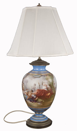 19th Century Sevres Table Lamp with Bacchus Painted Panel