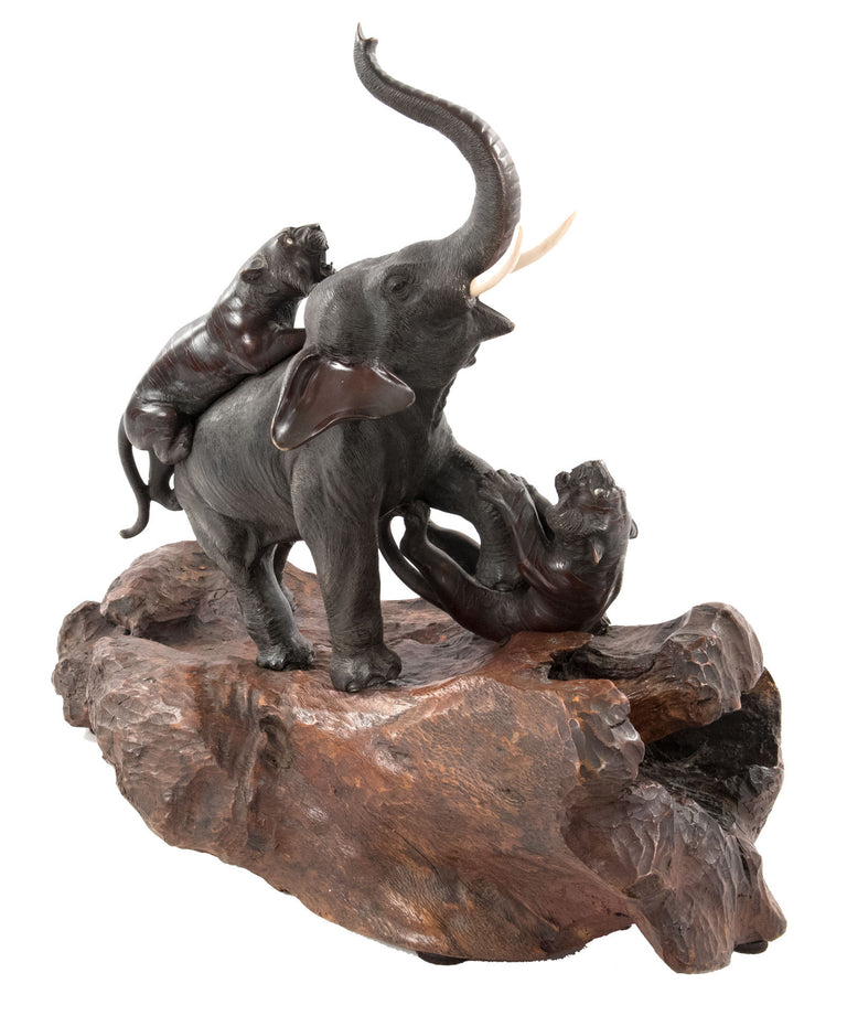 Japanese Wood and Bronze Elephant and Tiger Group